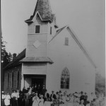 St. Peter's Lutheran Church. Note that the steeple was built off to the side and they later moved it to the center.