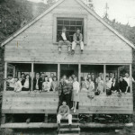 Lou Hull's cabin at Brighton Beach with students from Roosevelt High School in Seattle. He was a football coach there. About mid 1940s.