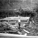 Lou Hull building the cabin.