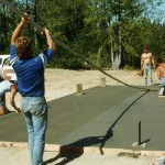Finishing concrete floor – Dave Johnson, Ken & Virginia Bloom, Mark Myres.