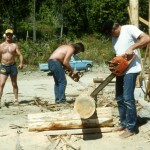 Constructing the log picnic shelter – Ric Collins, Pat McVay and Steve Backus.