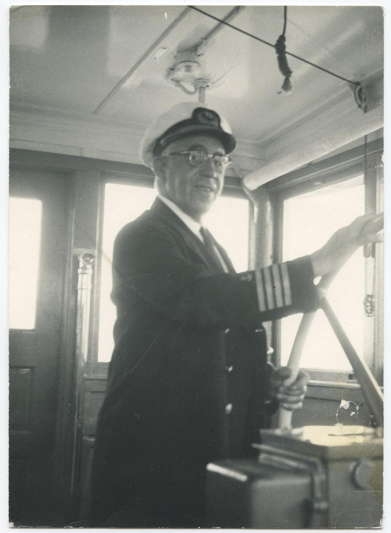 He was the captain of the ferry 'Olympic'.' About 1960's.