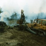 Bulldozer operator Mike Madsen and Ernie Leiske.