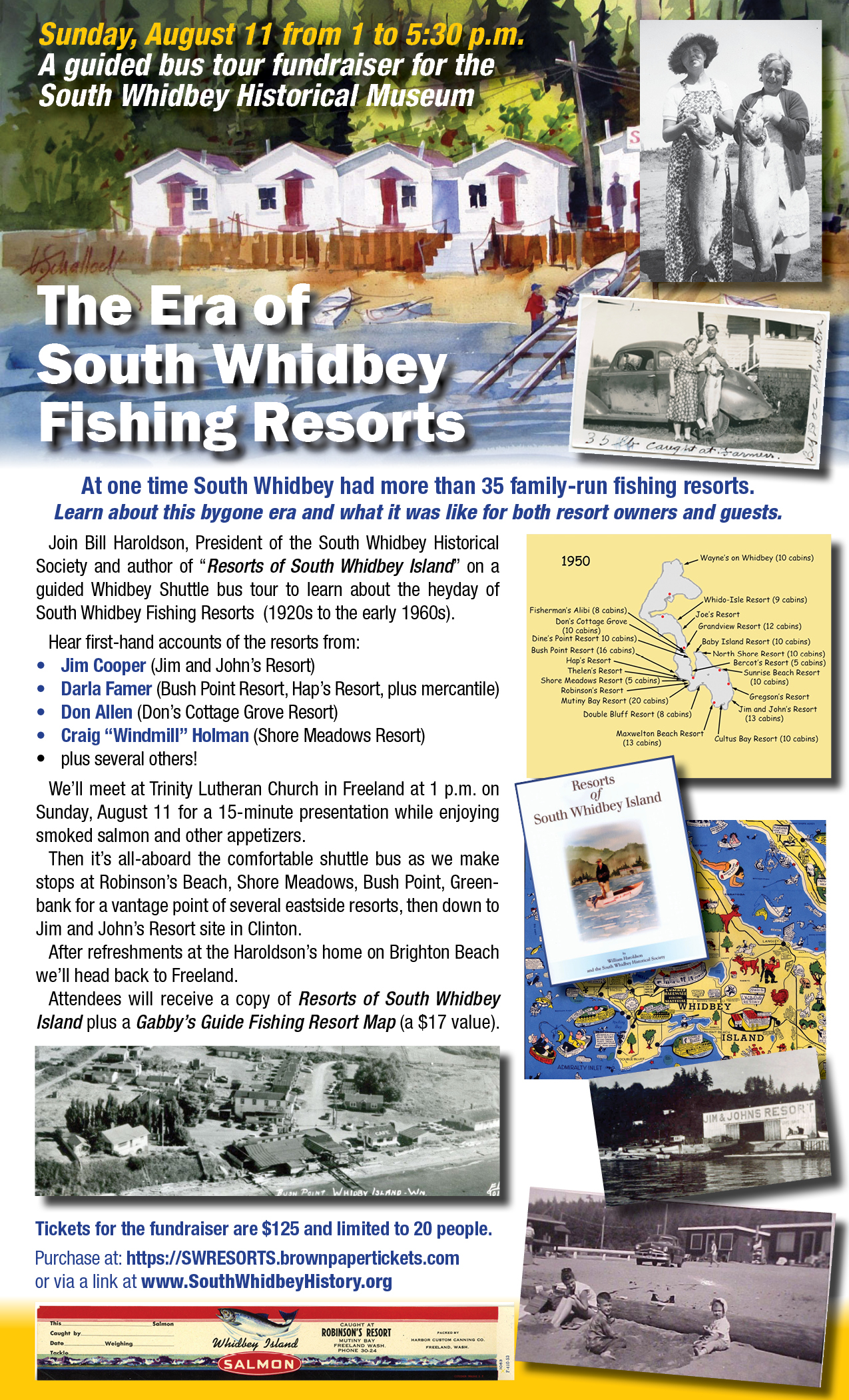 Buy your tickets now for the Era of Fishing Resorts on South Whidbey Fundraiser Bus Tour